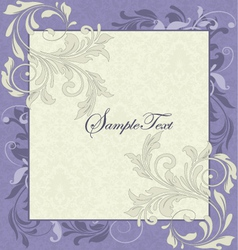 Purple and ivory vintage floral wedding invitation vector