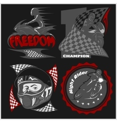 Motorcycle racers emblems set in the vector