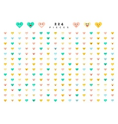 Great set of 224 color emotions isolated on white vector