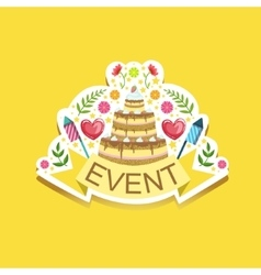 Event Template Label Cute Sticker With Cake And vector image