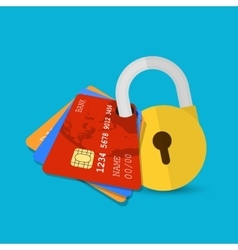 Set of secure credit card vector