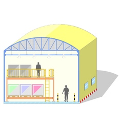 Warehouse shaped dome canvas tent storage section vector