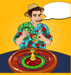 Rich man behind roulette table celebrating big win vector