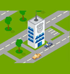 Police building car isometric vector
