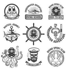 set of scuba diving club emblems design elements vector image