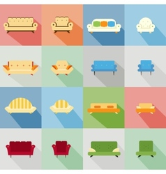 Icons of matching sofa and chair vector