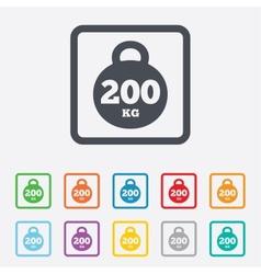 Weight sign icon 200 kilogram sport symbol vector