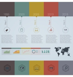 Retro timeline infographic design template vector