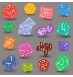 Mailing doodle icons vector
