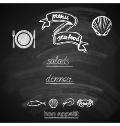 Vintage seafood menu design with chalkboard vector