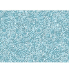Seamless pattern with doodle flowers and leaves vector
