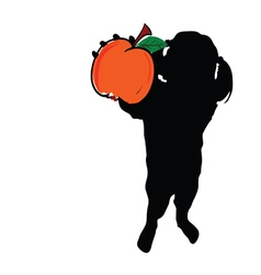 Girl with peach in hand silhouette vector