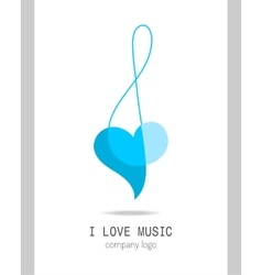 Musical logo treble clef modern stylish musical vector
