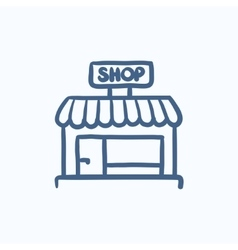 Shop store sketch icon vector