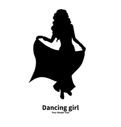 Silhouette of a dancing girl vector image
