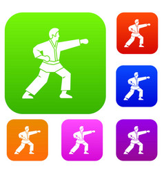 Aikido fighter set collection vector