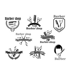 Barber shop icons set templates vector