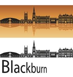 Blackburn skyline in orange background vector image vector image
