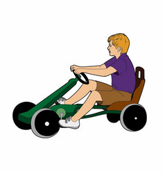 Boy on a karting vector
