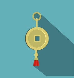 chinese coin of luck icon flat style vector image