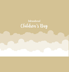 Cloud background for childrens day greeting card vector