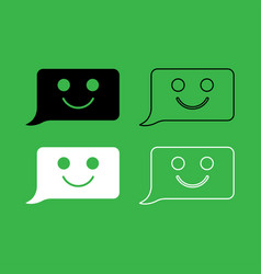 comment smile message icon black and white color vector image