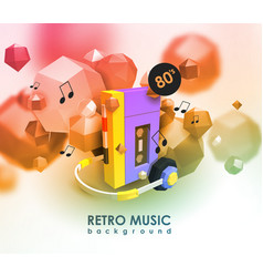 creative background with retro cassette player vector image