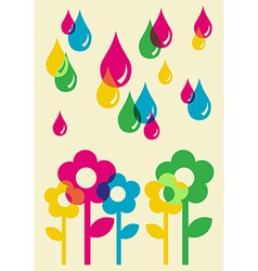Drops watering flowers background vector