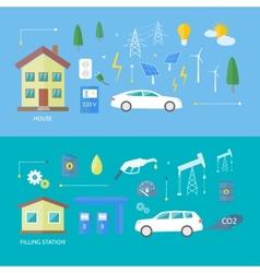 Electric cars and petrol car vector