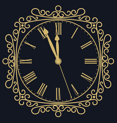 Golden clock for new year and christmas design vector
