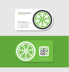 Green business card for the trucking company vector