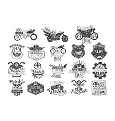 Hand drawn set of motorbike logos or stamps for vector