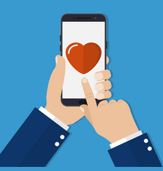 hand holding smartphone heart on the screen vector image vector image