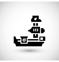 Horizontal boring machine icon vector
