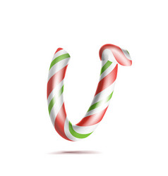 letter v 3d realistic candy cane alphabet vector image vector image