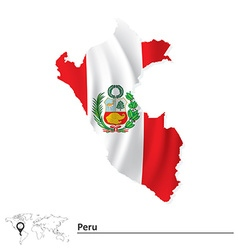 Map of Peru with flag vector image vector image