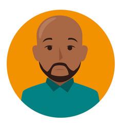 Orange sphere of half body brunette bald man with vector
