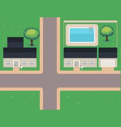 pixel art neighborhood vector image vector image