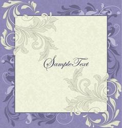 Purple and ivory vintage floral wedding invitation vector