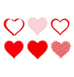 set of halftone hearts vector image vector image
