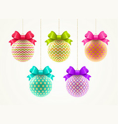 set of multicolored christmas baubles vector image vector image