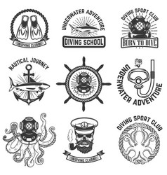 set of scuba diving club emblems design elements vector image vector image