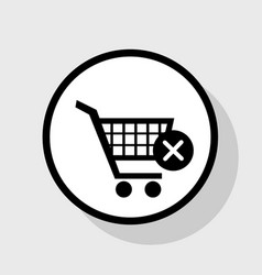 Shopping cart with delete sign flat black vector