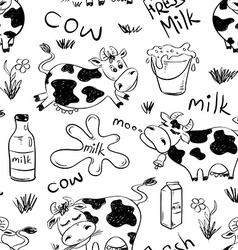 Sketch seamless pattern of funny cows vector