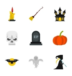 Terrible holiday icons set flat style vector