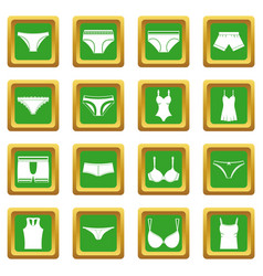 Underwear items icons set green vector
