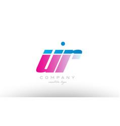 ur u r alphabet letter combination pink blue bold vector image