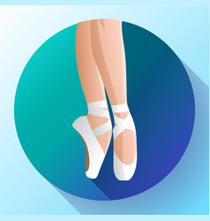 White ballet pointe shoes flat vector