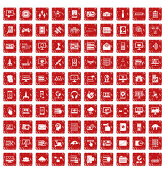 100 database and cloud icons set grunge red vector image vector image