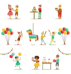 Kids birthday party set of scenes vector